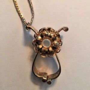 antique ornate gold glove clip scarf holder purse
